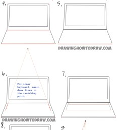 how to draw a computer laptop using one point perspective in easy steps tutorial [ 1600 x 4675 Pixel ]