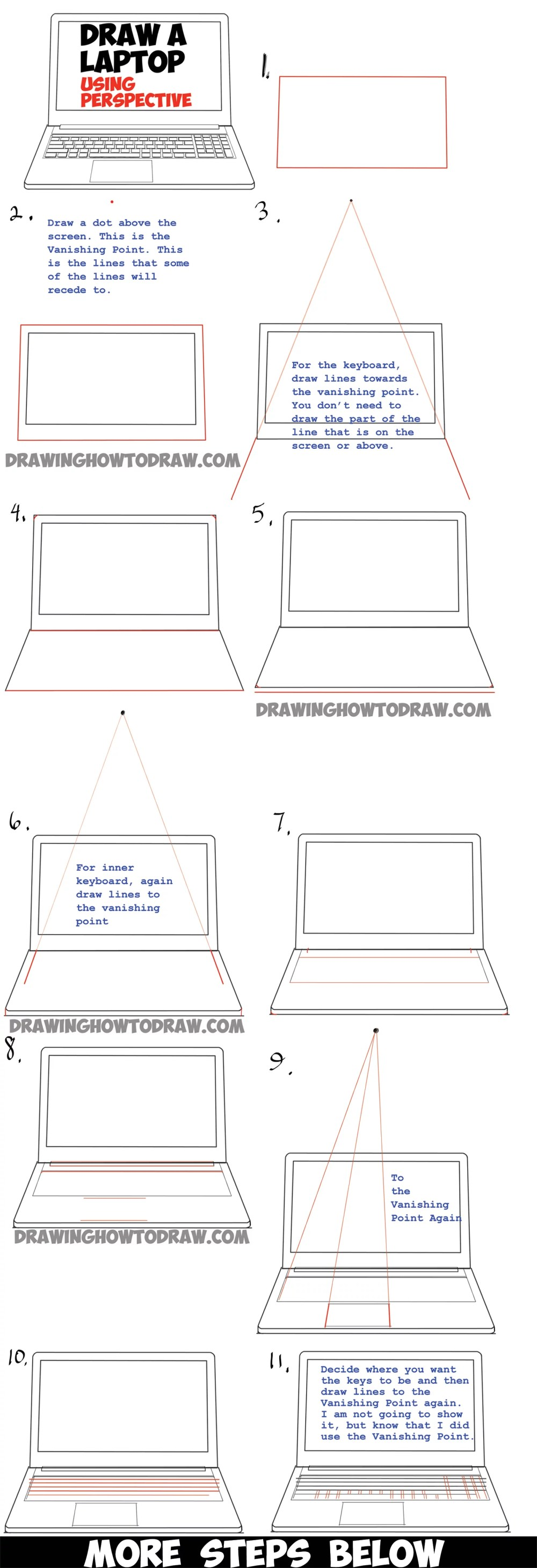 medium resolution of how to draw a computer laptop using one point perspective in easy steps tutorial