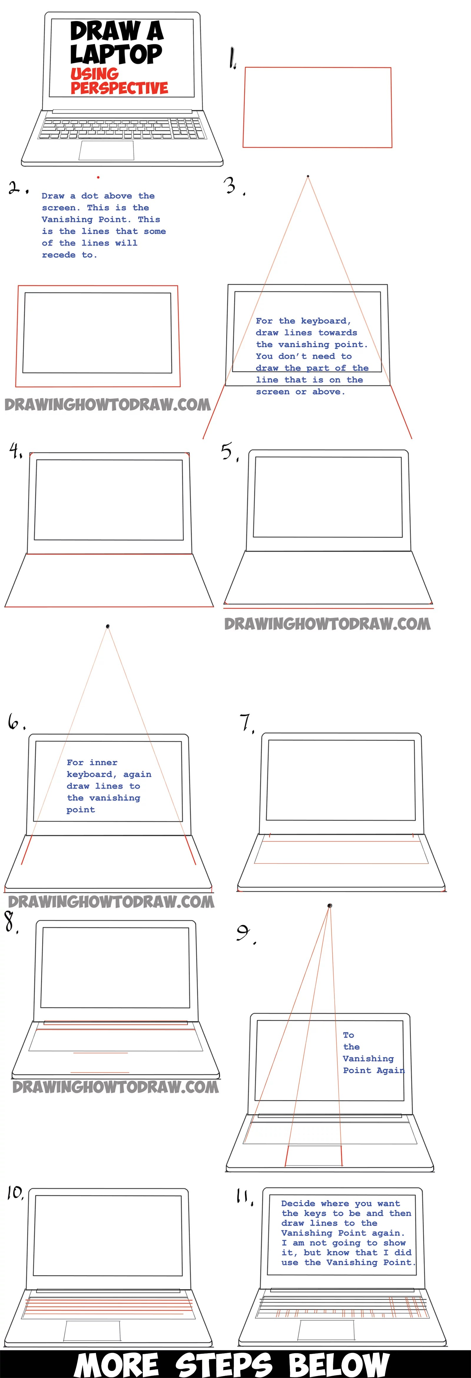 hight resolution of how to draw a computer laptop using one point perspective in easy steps tutorial