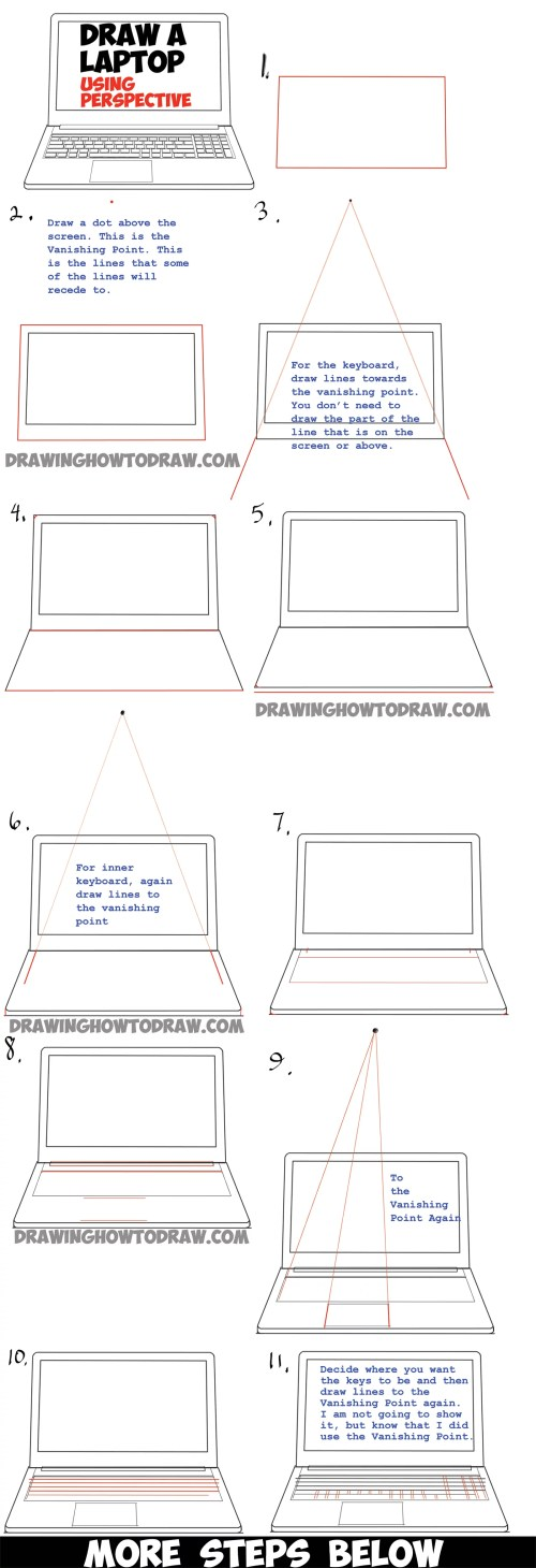 small resolution of how to draw a computer laptop using one point perspective in easy steps tutorial