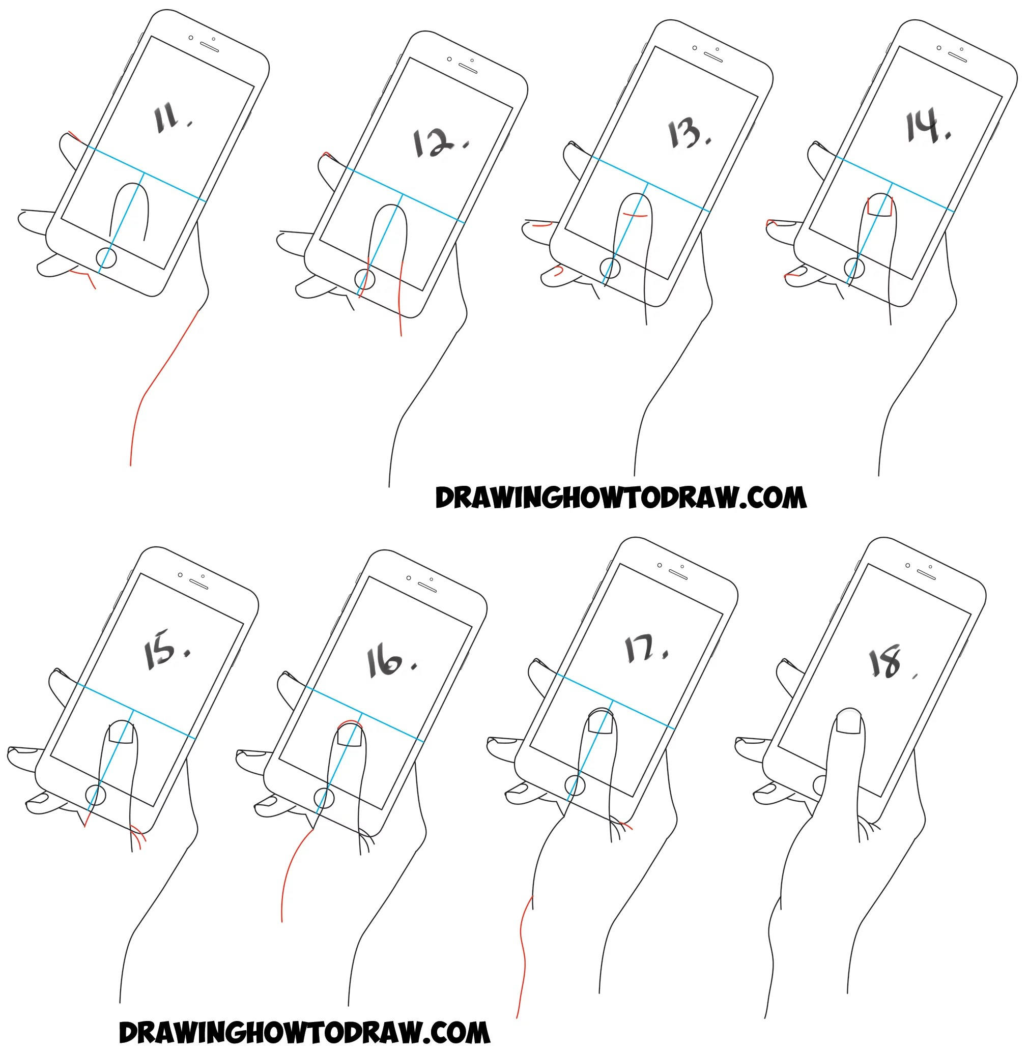 How to Draw a Hand Holding a Cell Phone / iPhone in Easy
