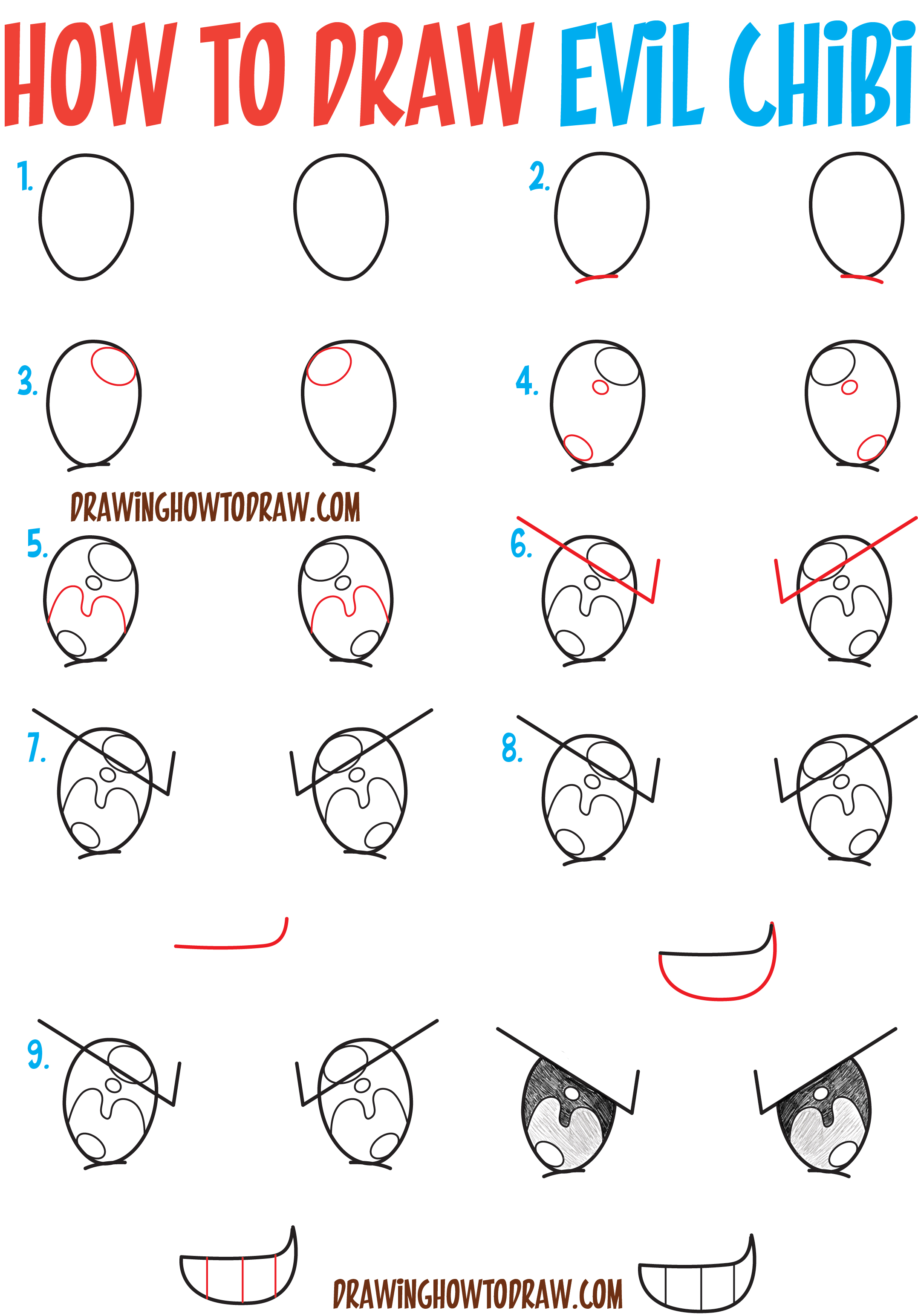 How To Draw Sneaky Devious Evil Chibi Expressions
