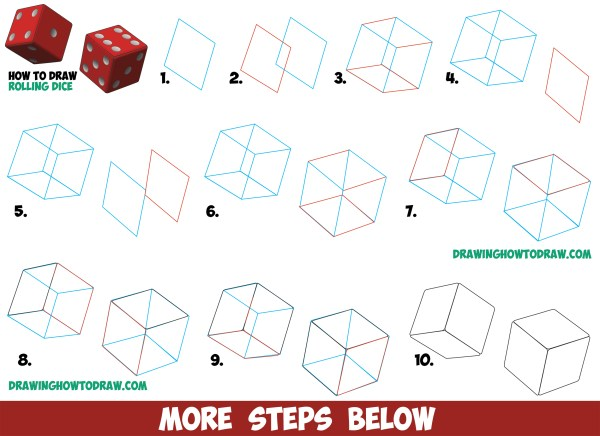 Draw Dice Rolling Rolled With Easy Step