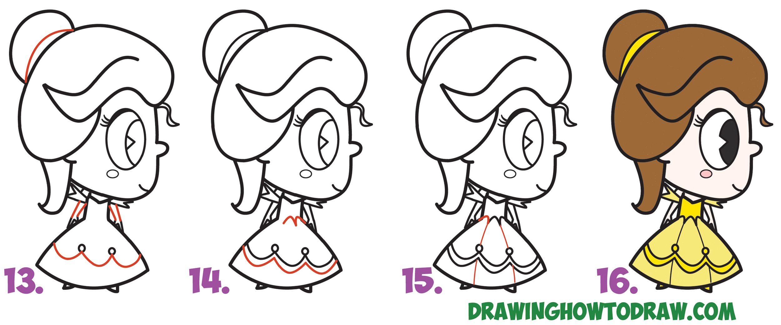 How To Draw Cute Kawaii Chibi Belle From Beauty And The