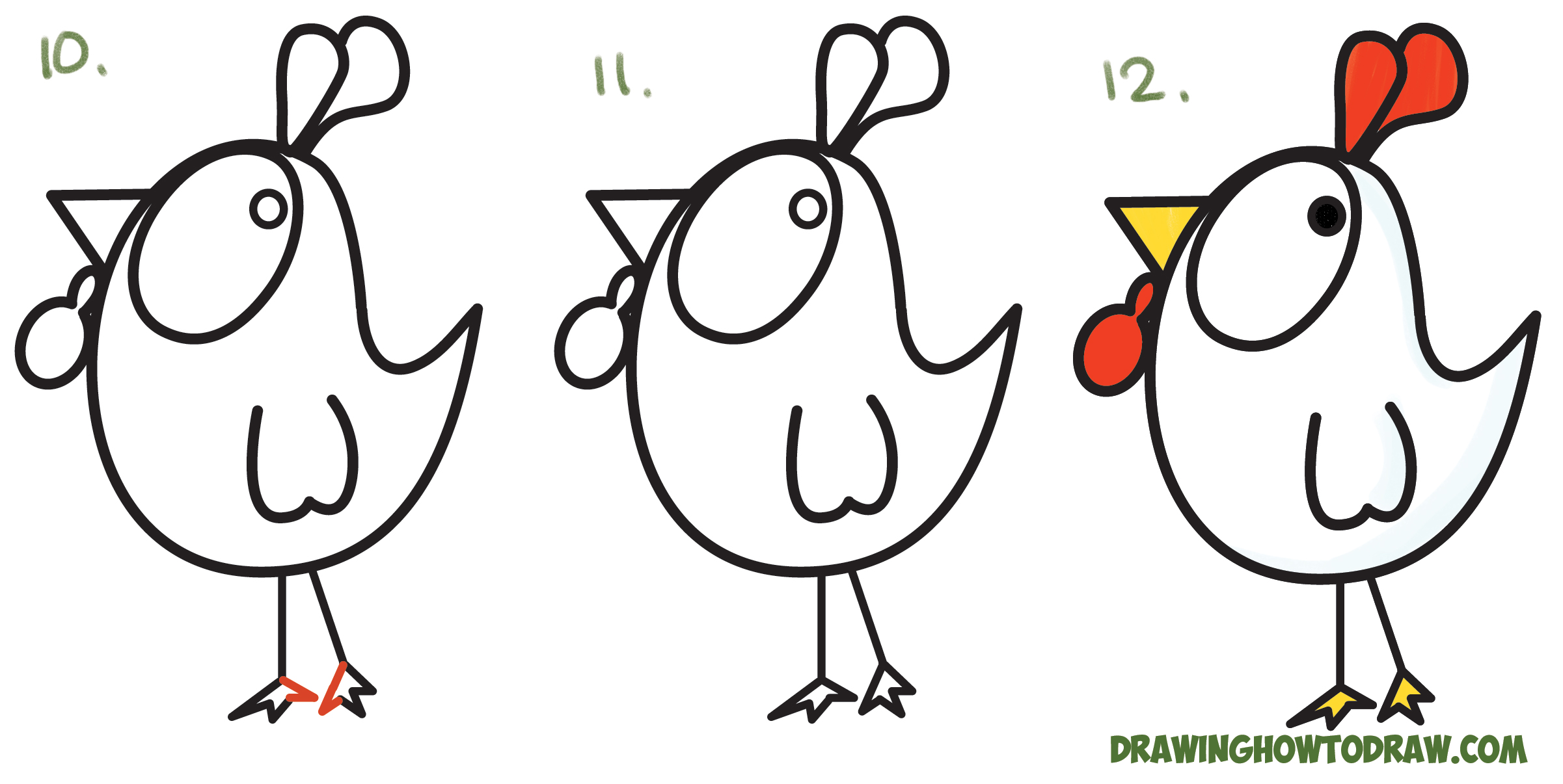 How to Draw a Cartoon Chicken / Rooster from ? and