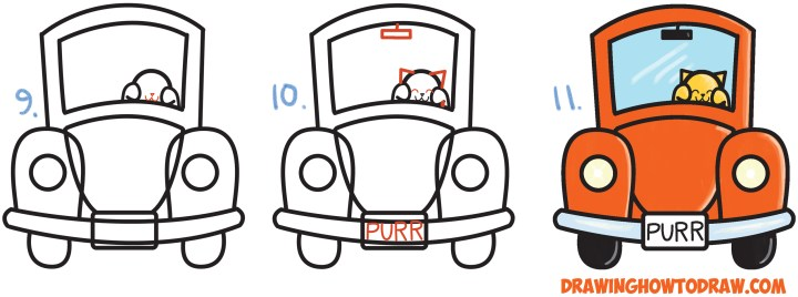 how to draw a car driving from back easy