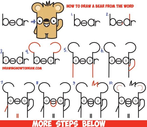 "Draw Cute Cartoon Kawaii Bear Word ""bear"