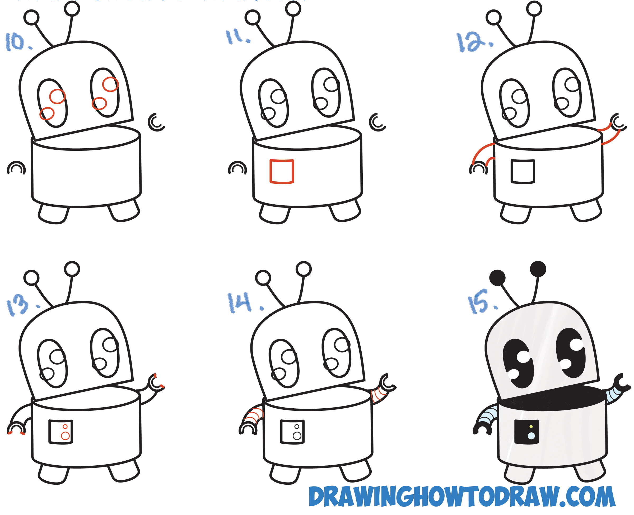 How to Draw a Cute Cartoon Robot Easy Step by Step Drawing