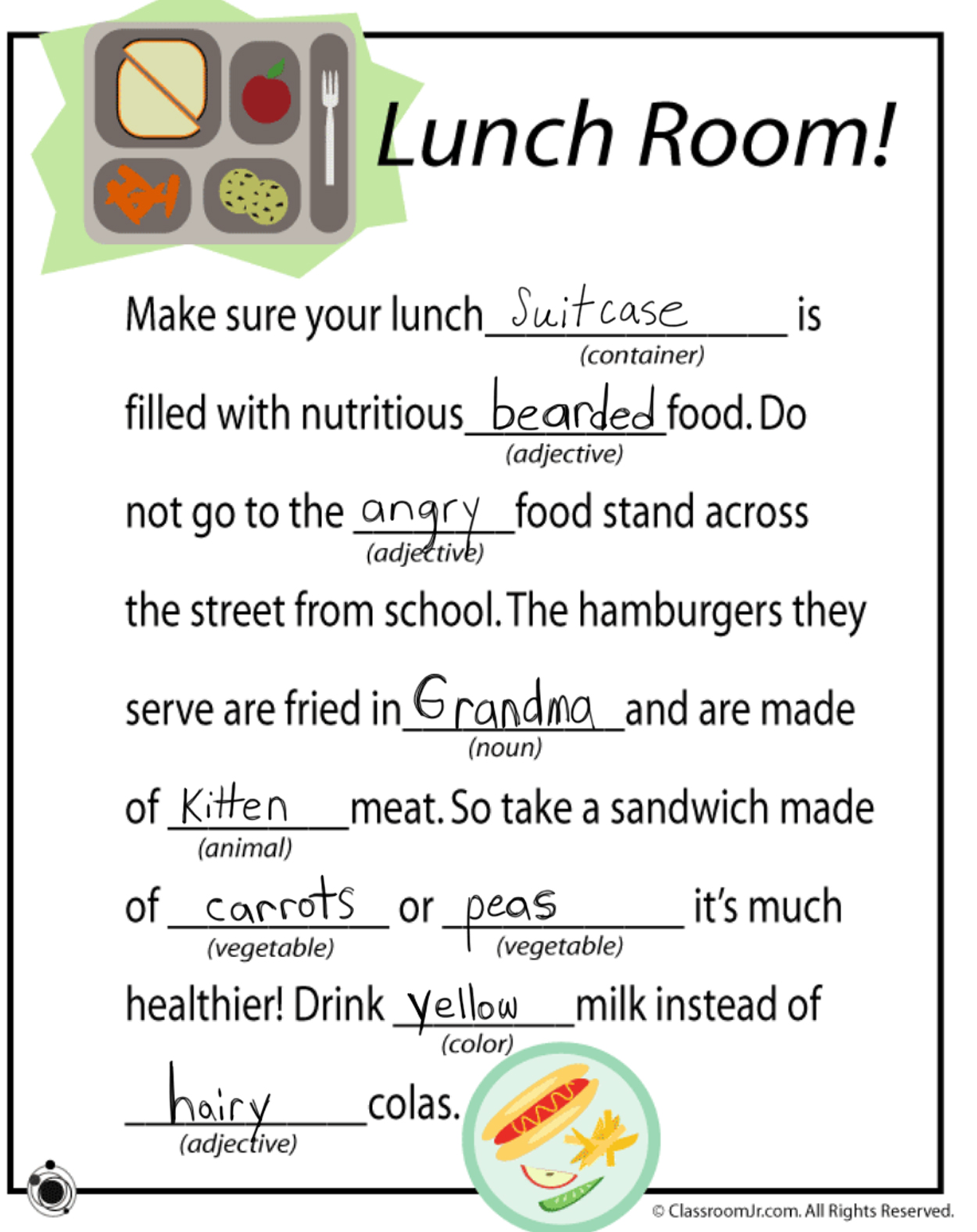 Funny Story Worksheet