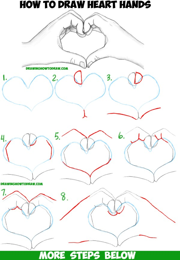 Draw Heart Hands In Easy Follow Step