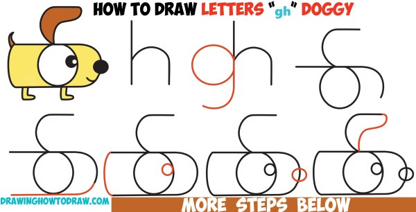 """Draw Cartoon Dog Letters """""""" And Easy"""