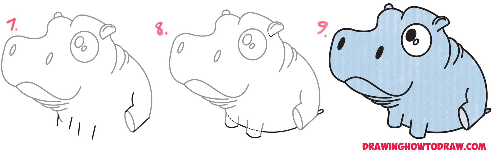 Cute Baby Hippo Drawings