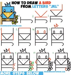 how to draw a cute bird sitting in a tree from alphabet letters jkl  [ 2521 x 2605 Pixel ]