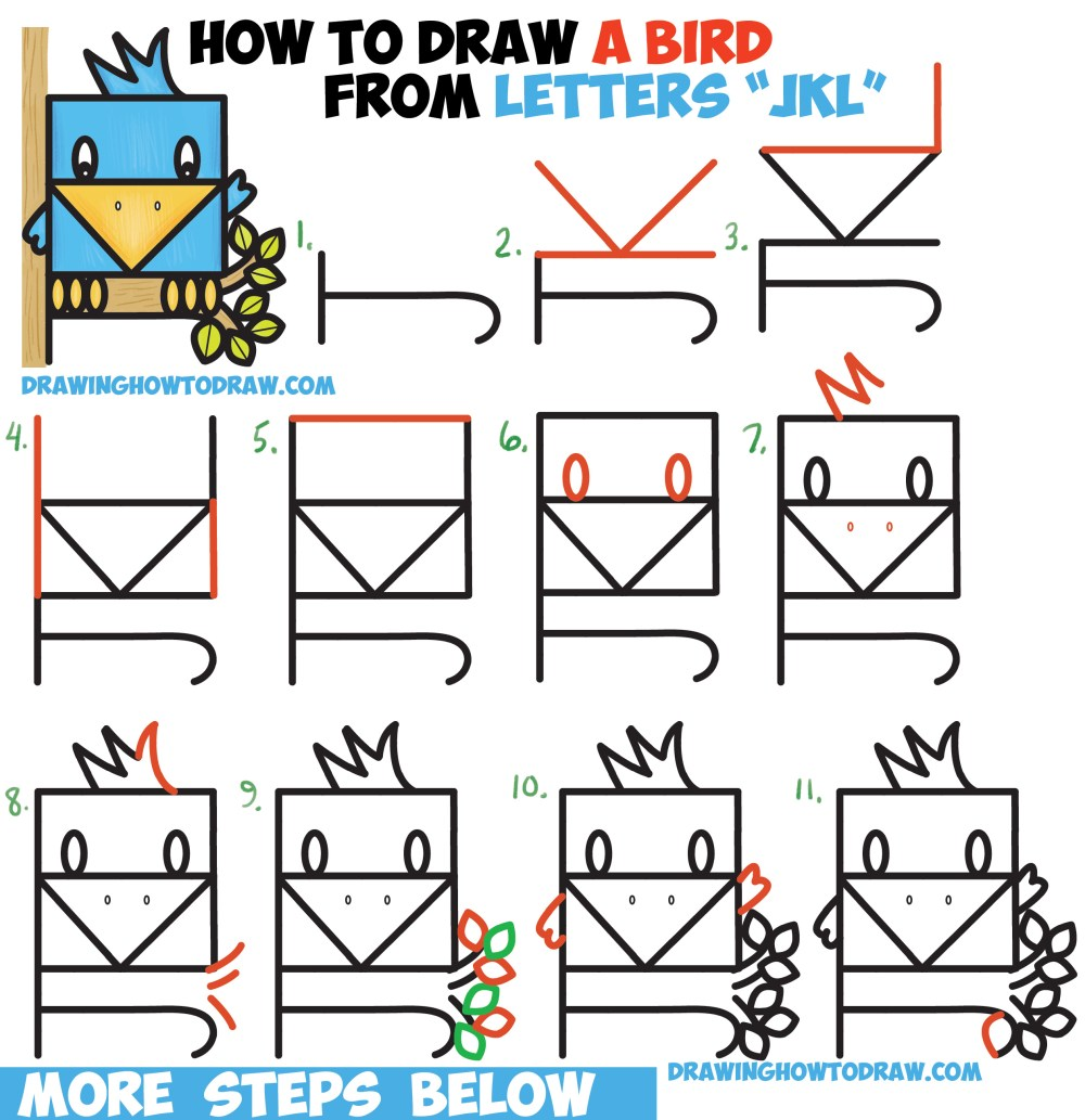 medium resolution of how to draw a cute bird sitting in a tree from alphabet letters jkl