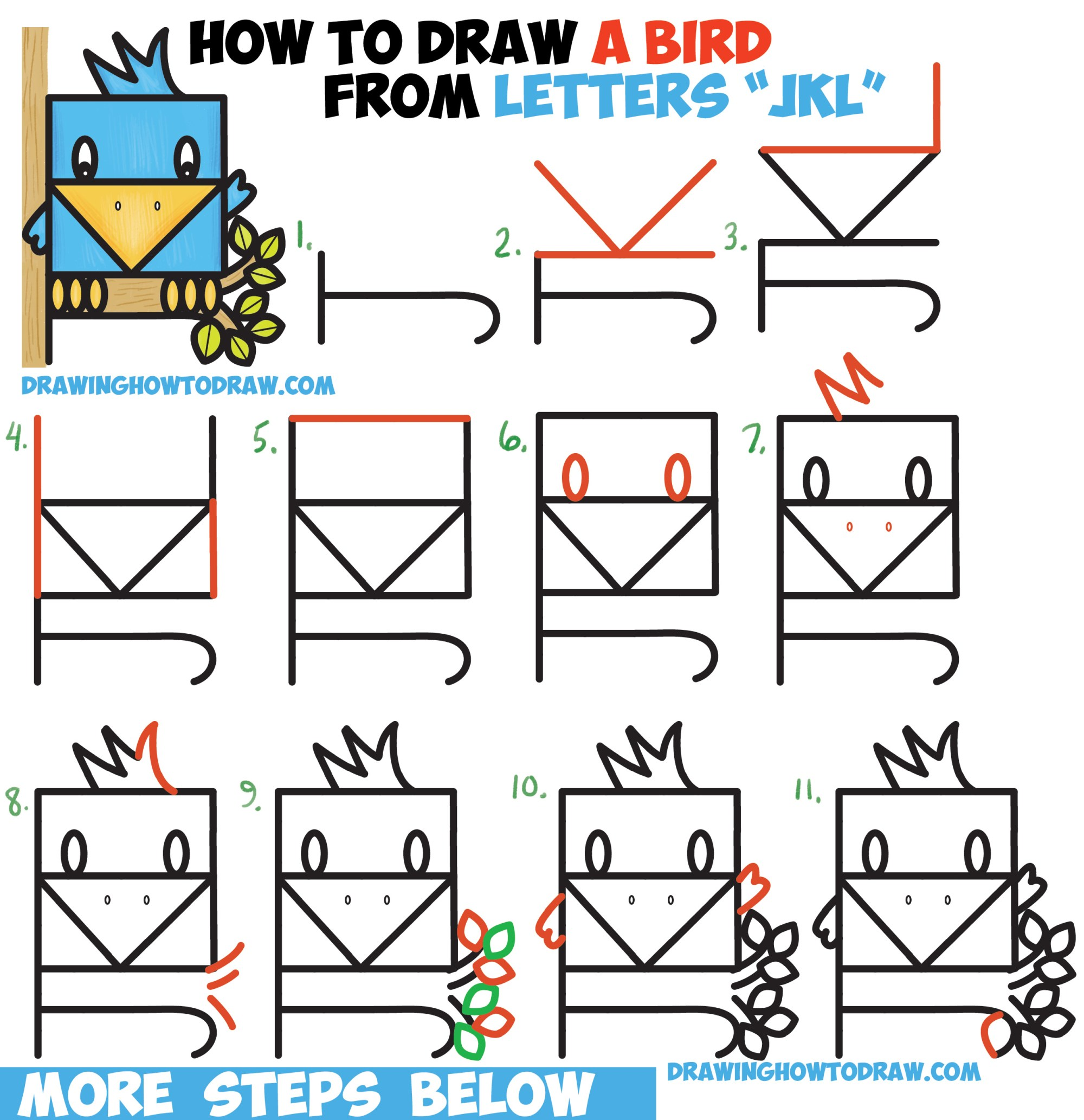 hight resolution of how to draw a cute bird sitting in a tree from alphabet letters jkl