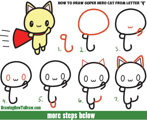 Draw Cute Cat Super Hero Kawaii With Easy Step