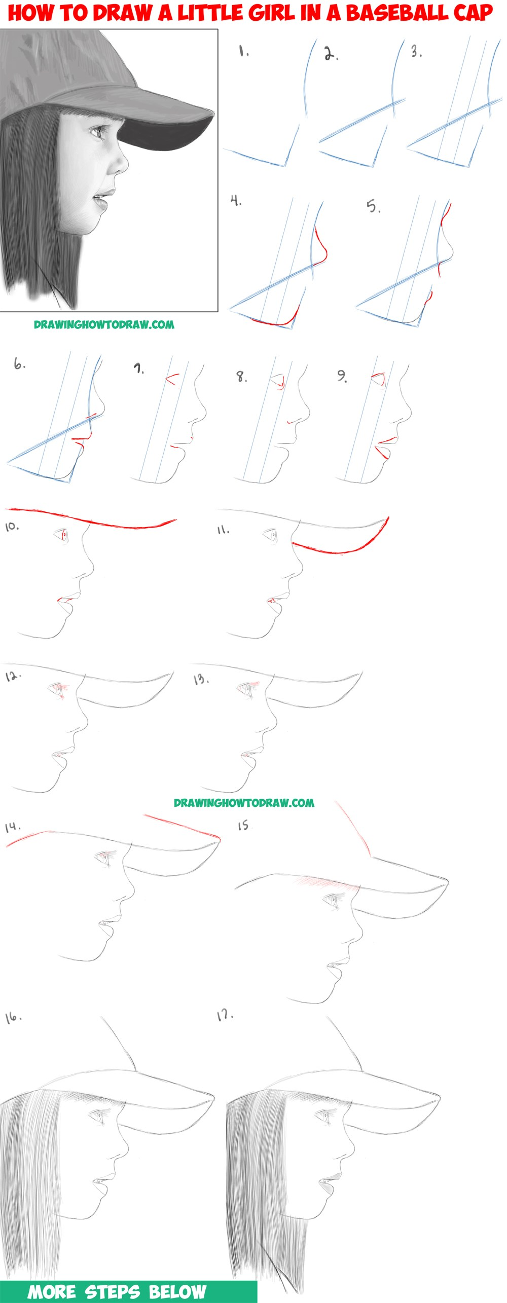 medium resolution of learn how to draw a realistic cute little girl s face head from the side profile