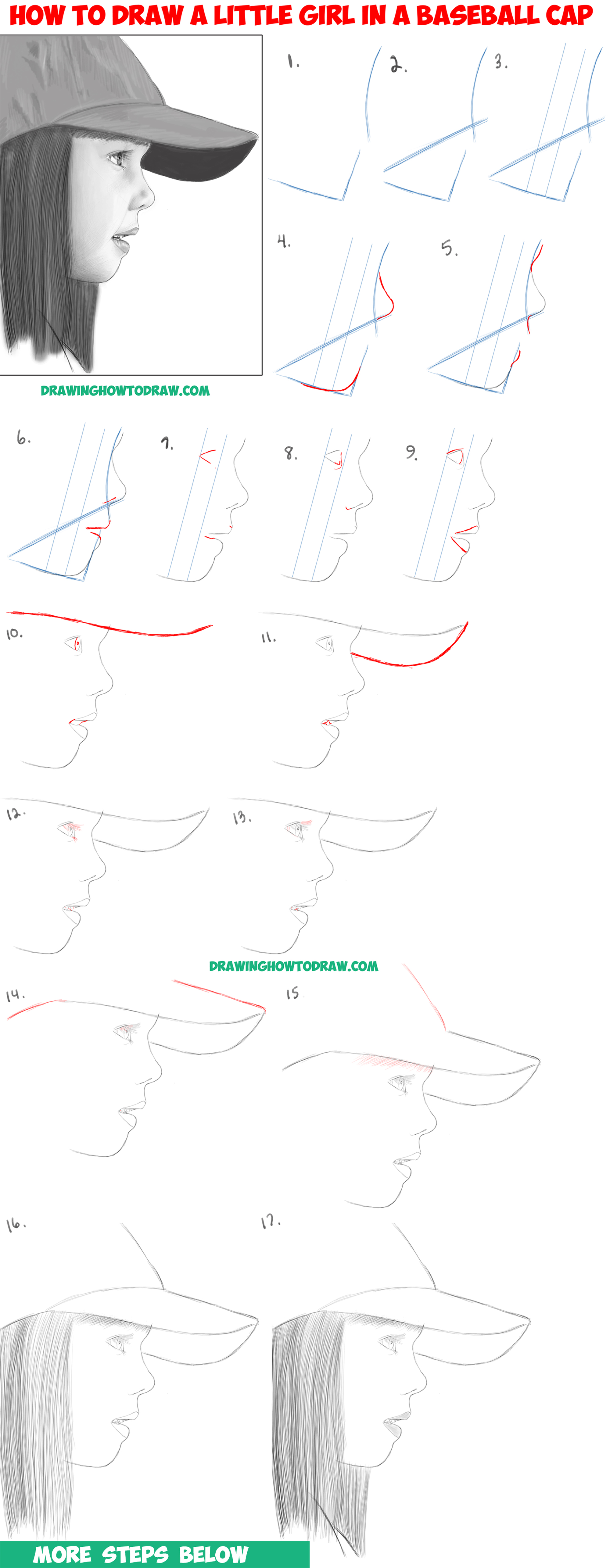 hight resolution of learn how to draw a realistic cute little girl s face head from the side profile