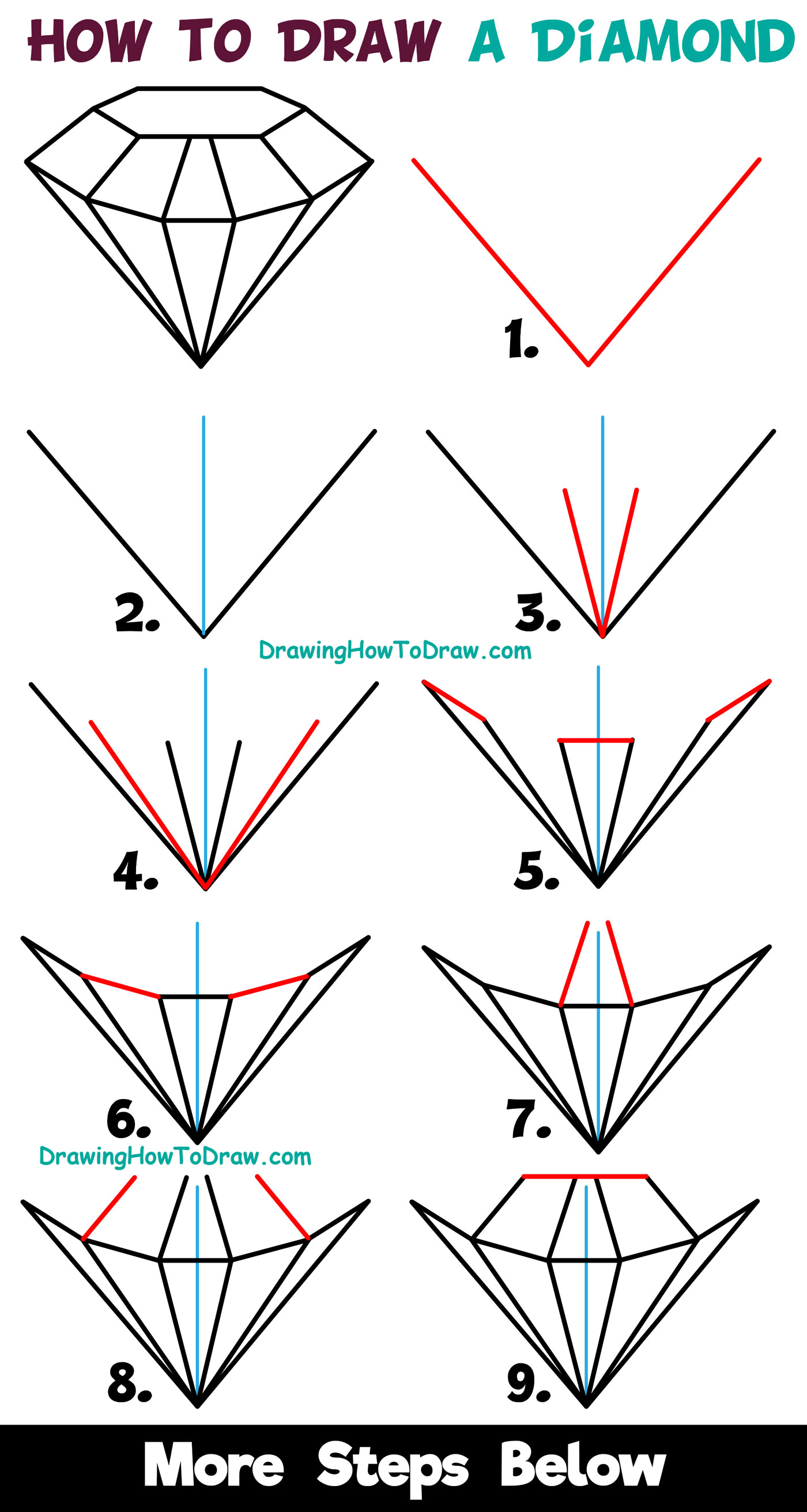 hight resolution of how to draw a diamond easy step by step drawing tutorial for kids beginners