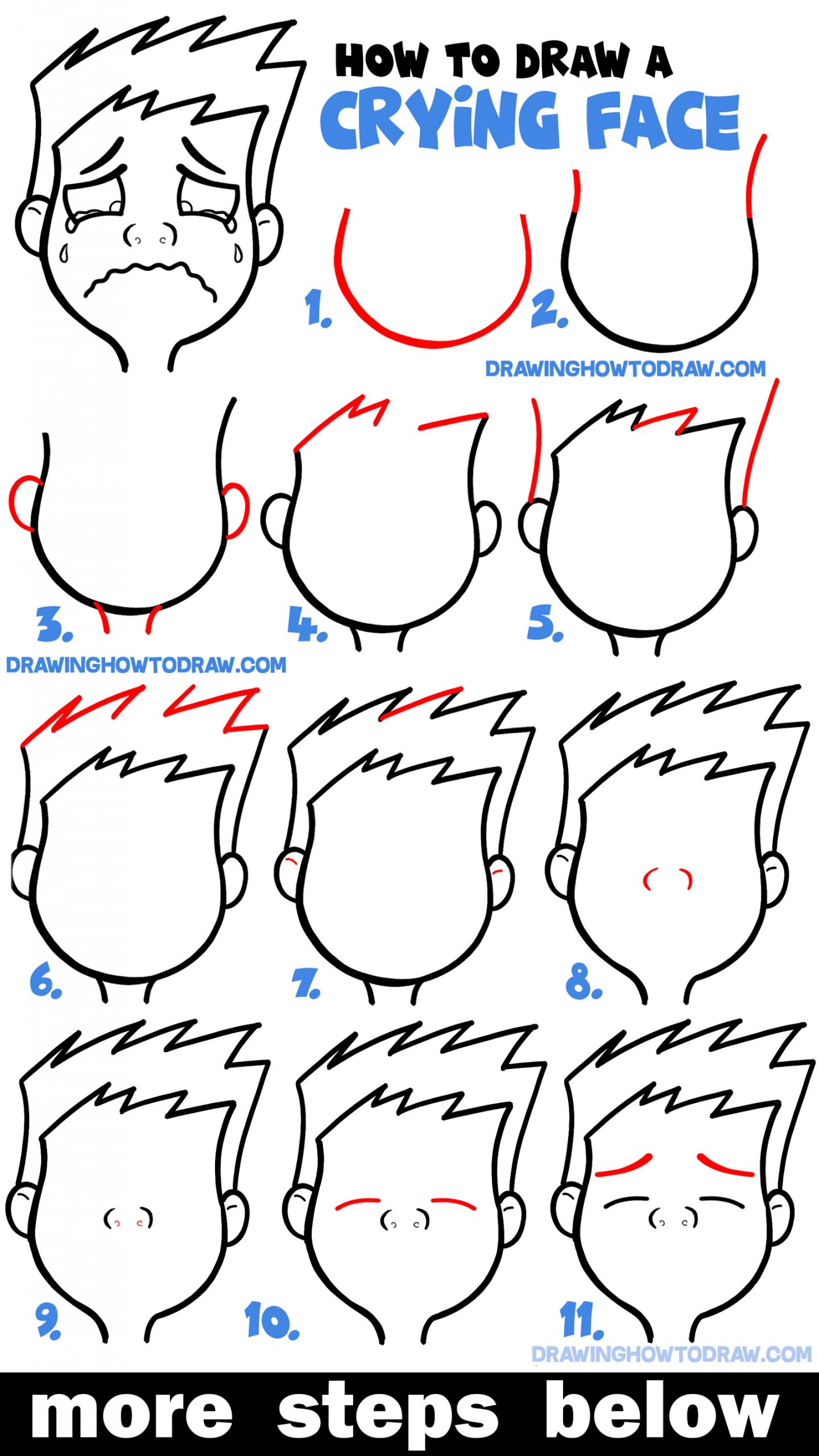 How To Draw Cartoon Facial Expressions Crying Sobbing