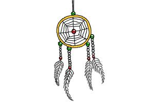 How to Draw Dreamcatcher, Step by Step Drawing Lessons