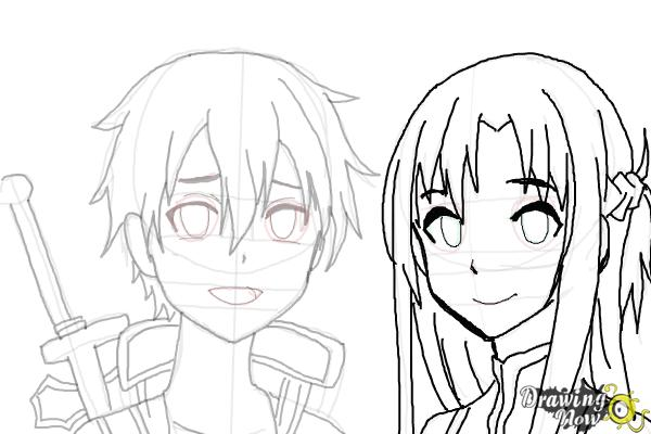 How to Draw Asuna And Kirito from Sword Art Online