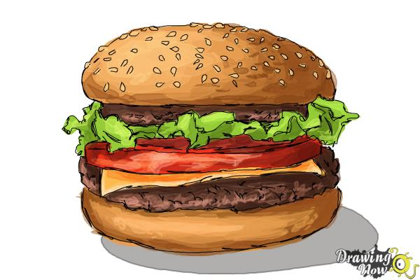 How To Draw A Burger Drawingnow
