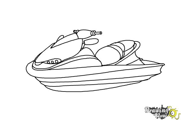 How To Draw A Easy Jet Ski Sketch Coloring Page