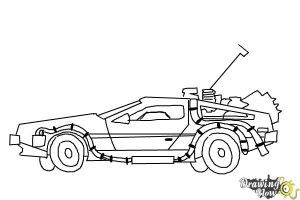 How to Draw The Delorean Time Machine from Back to The