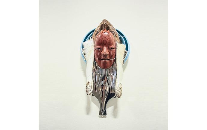 Untitled, mixed media, wood, bone, ceramic, stainless steel, 42 x 24 x 13 cm, 2018