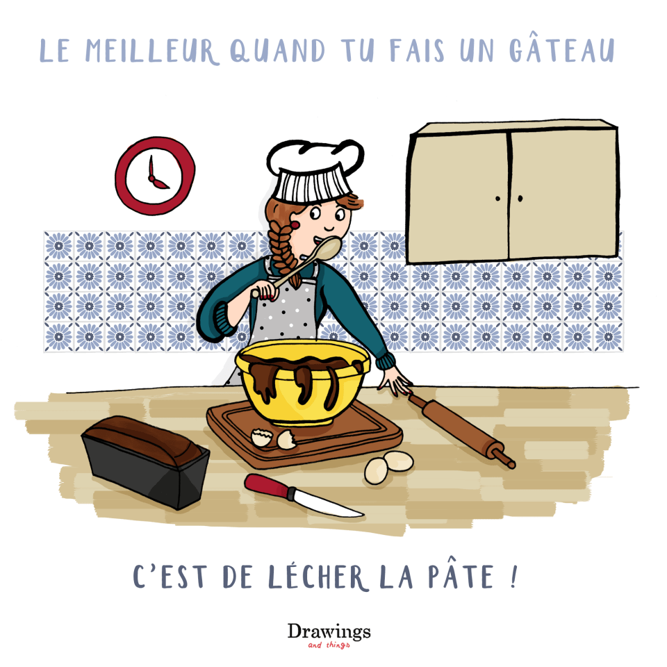 Lecher une pâte à gateau - Illustration by Drawingsandthings.com
