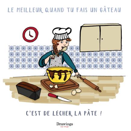 Lecher une pâte à gateau - Illustration by Drawingsandthings.com