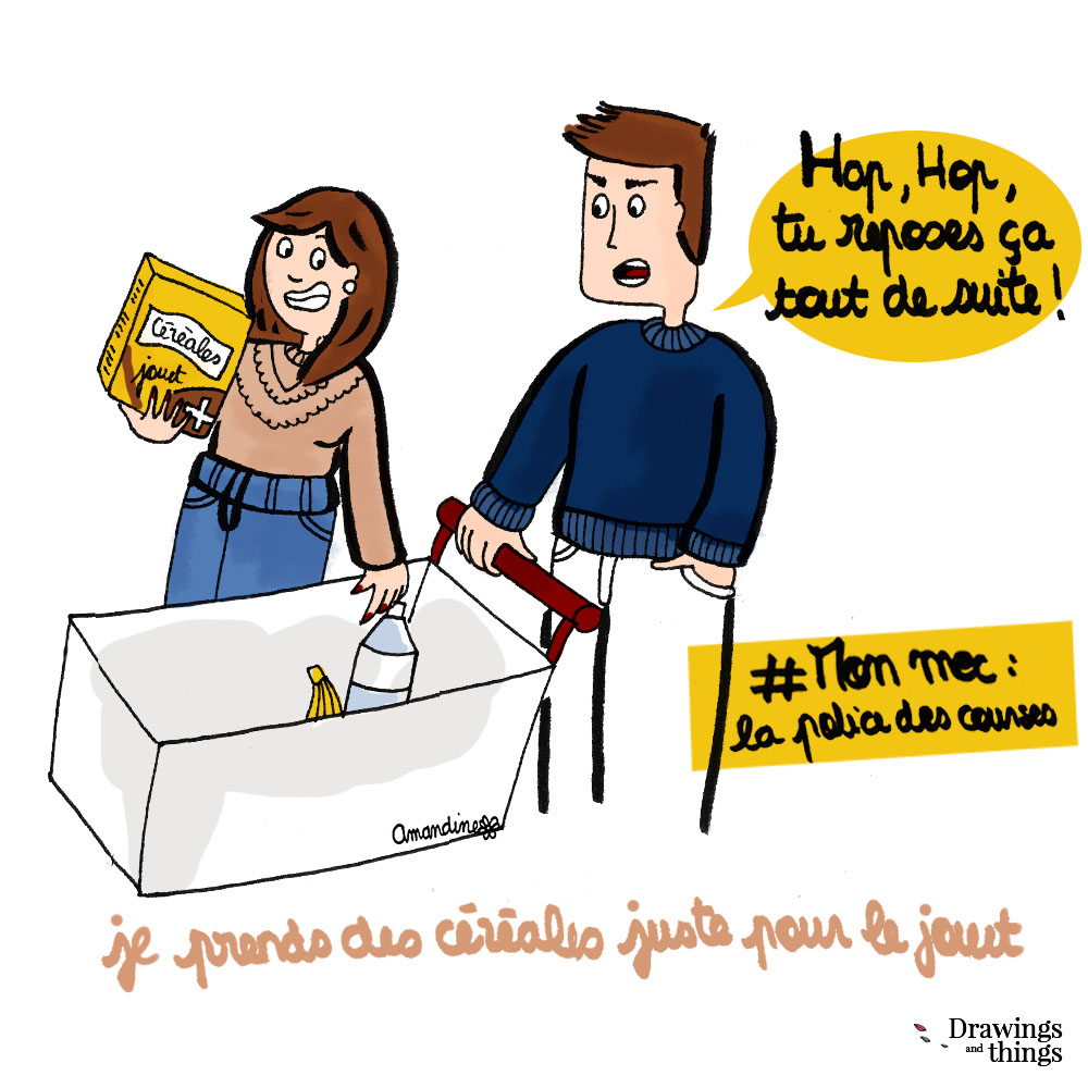 Faire les courses et acheter des céréales juste pour le jouet - Illustration-by Drawingsandthings