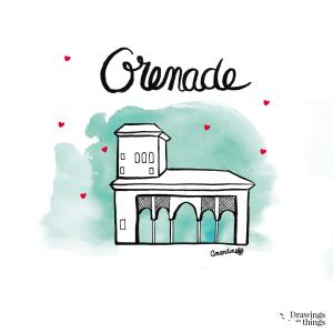 Illustration Grenade - Alhambra - Andalousie by Drawingsandthings