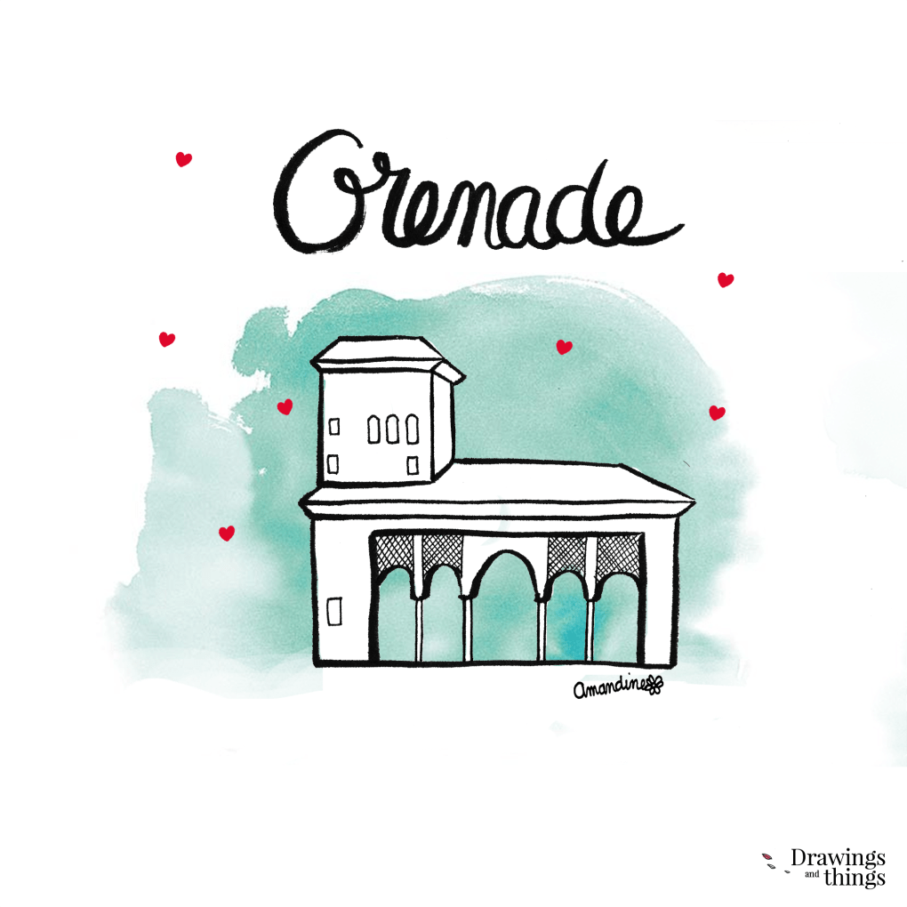 Illustration Grenade - Alhambra - Andalousie by Drawingsandthings