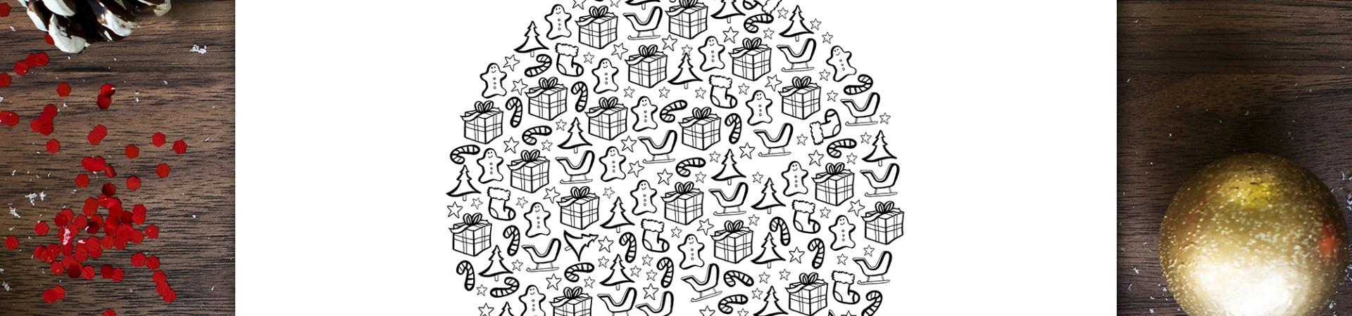 Coloriage - Boule de Noël - Printable by Drawingsandthings