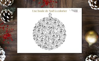 Coloriage - Boule de Noël - Printable by Drawingsandthings