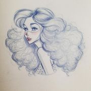 curly hair drawing pencil sketch