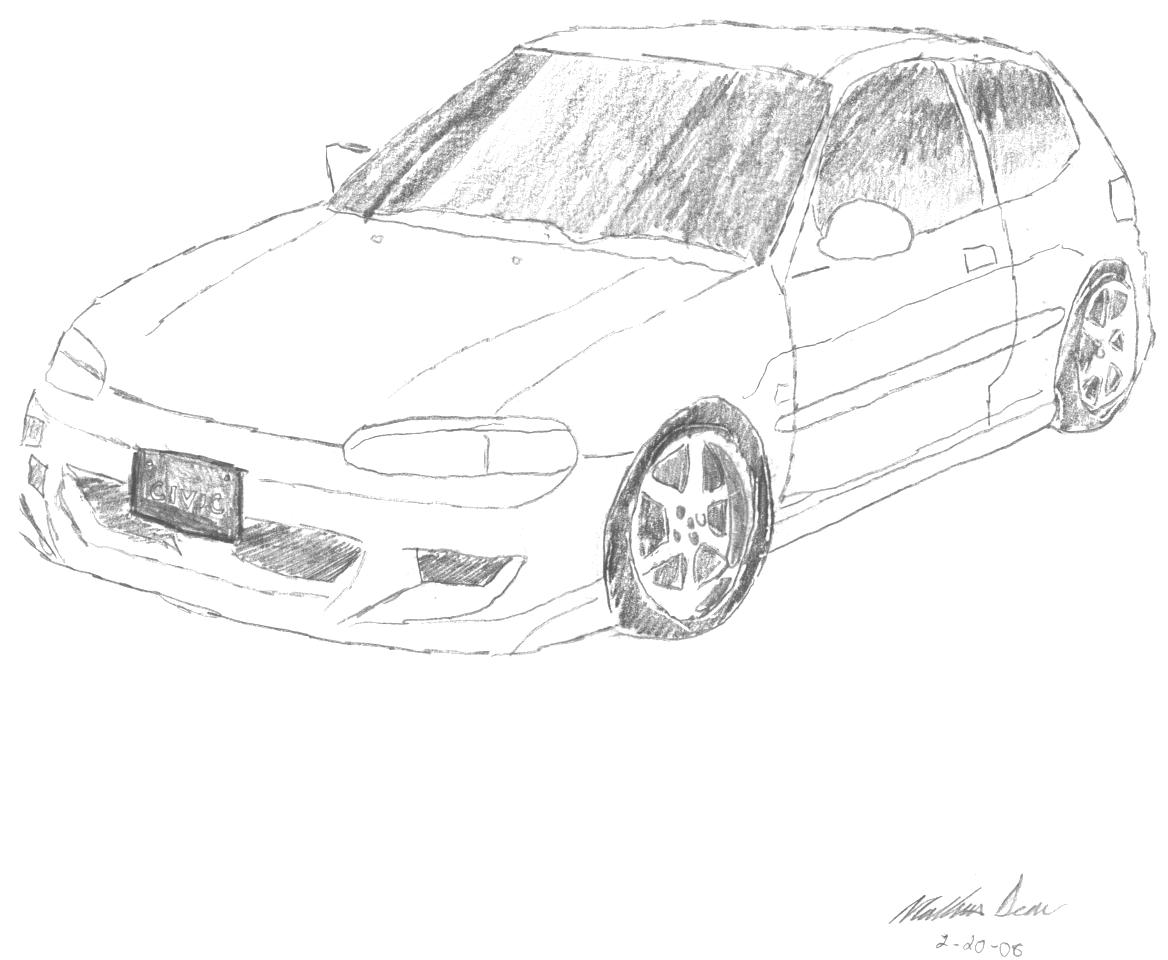 Honda Drawing, Pencil, Sketch, Colorful, Realistic Art