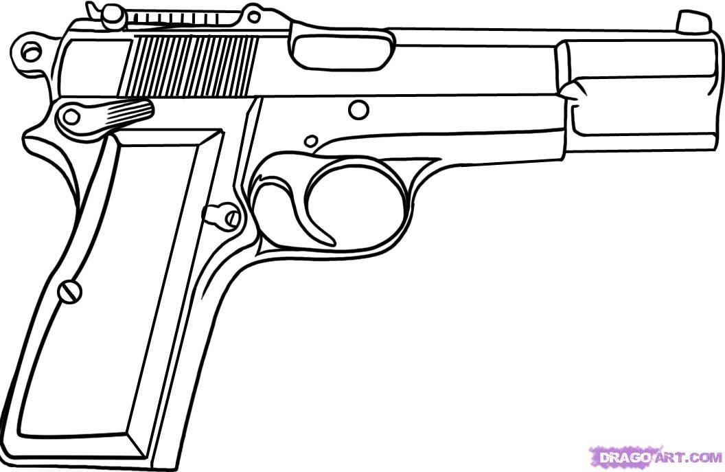 Gun Drawing, Pencil, Sketch, Colorful, Realistic Art
