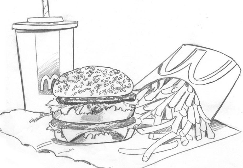 Mcdonalds Drawing, Pencil, Sketch, Colorful, Realistic Art