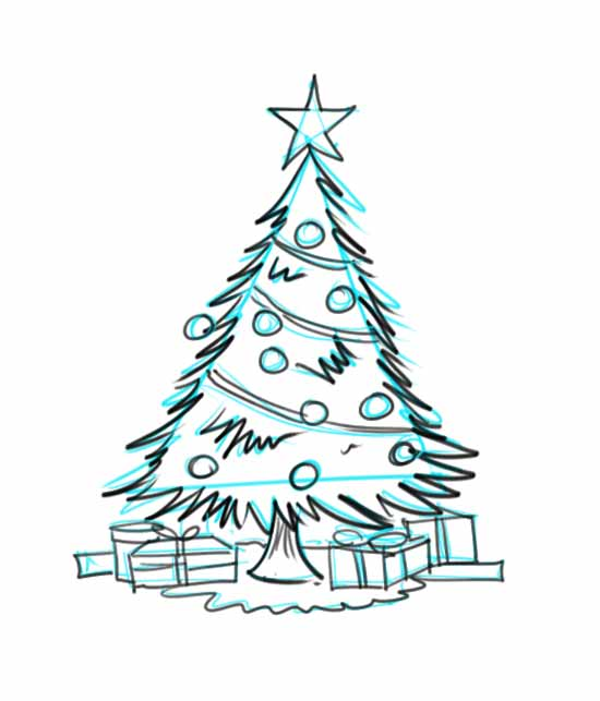 How To Draw A Christmas Tree With Decorations And Presents