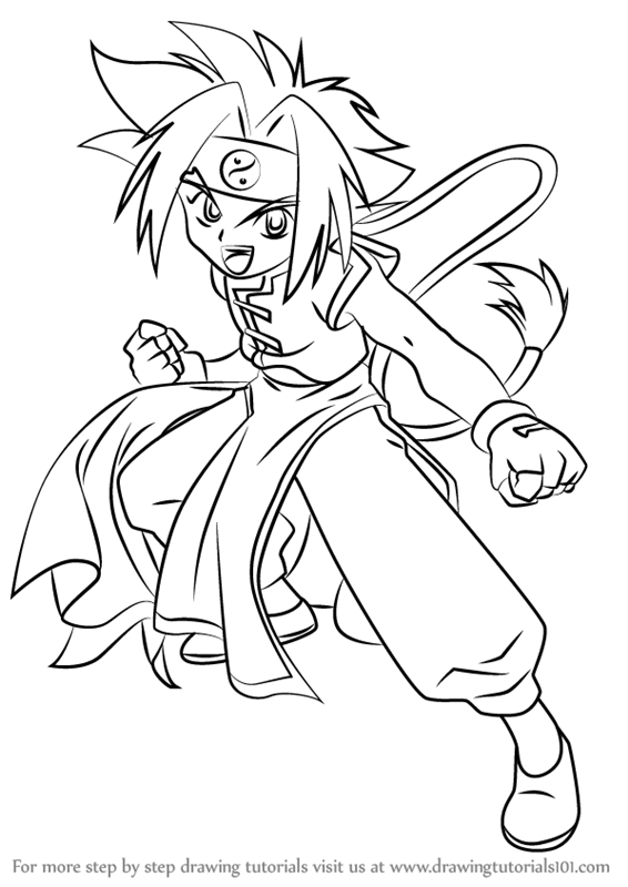 Learn How To Draw Ray Kon From Beyblade Beyblade Step By
