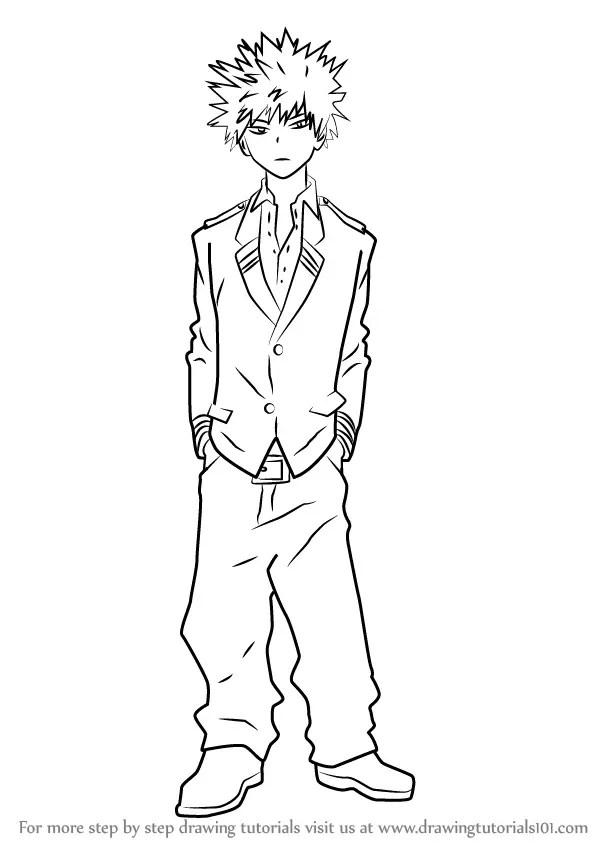 Step by Step How to Draw Katsuki Bakugo from Boku no Hero