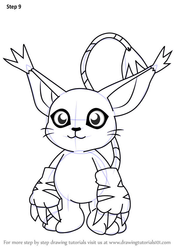 Learn How To Draw Gatomon From Digimon Digimon Step By