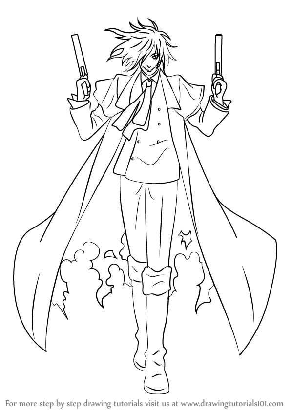 Learn How to Draw Alucard from Hellsing (Hellsing) Step by