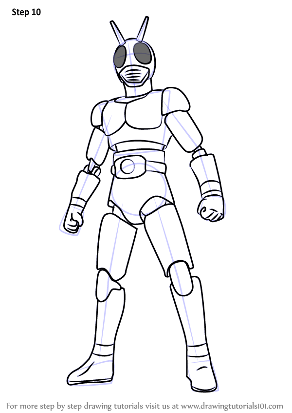 Learn How to Draw Kamen Rider (Kamen Rider) Step by Step