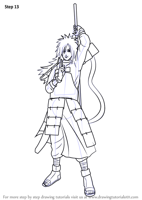 Learn How to Draw Madara Uchiha from Naruto (Naruto) Step