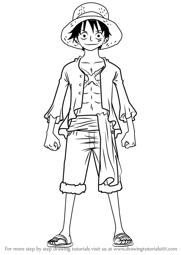 Learn How to Draw Monkey D Luffy Full Body from One Piece