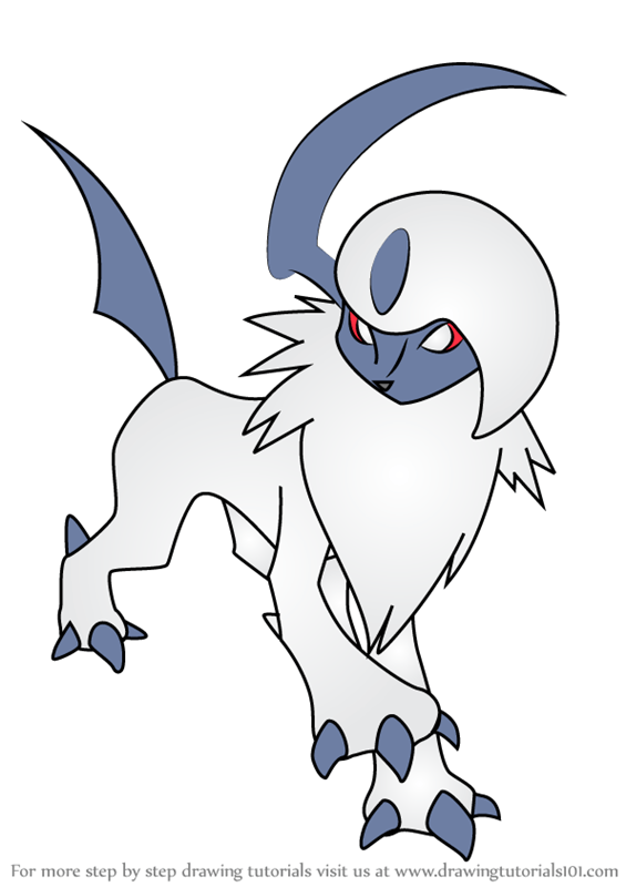 Learn How To Draw Absol From Pokemon Pokemon Step By Step